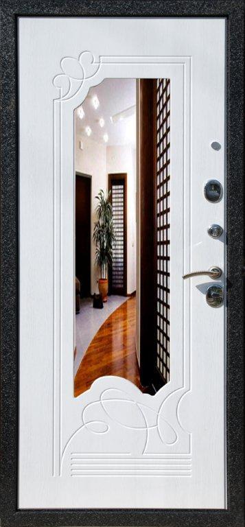 белая железная дверь с зеркалом